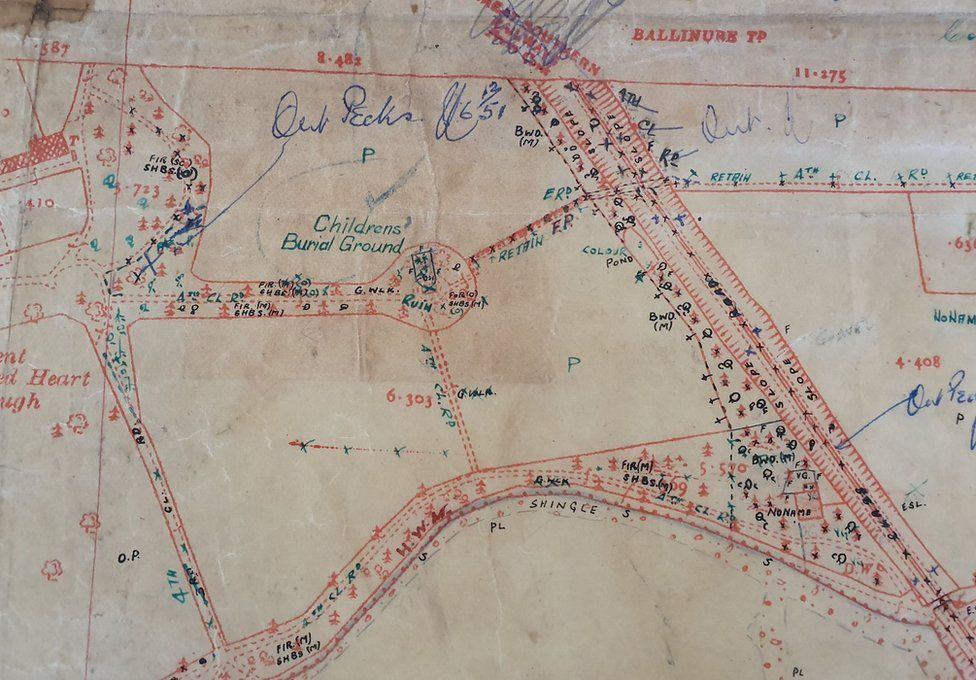"""Old map containing a reference to a """"children's burial ground"""" on the Bessborogh site"""