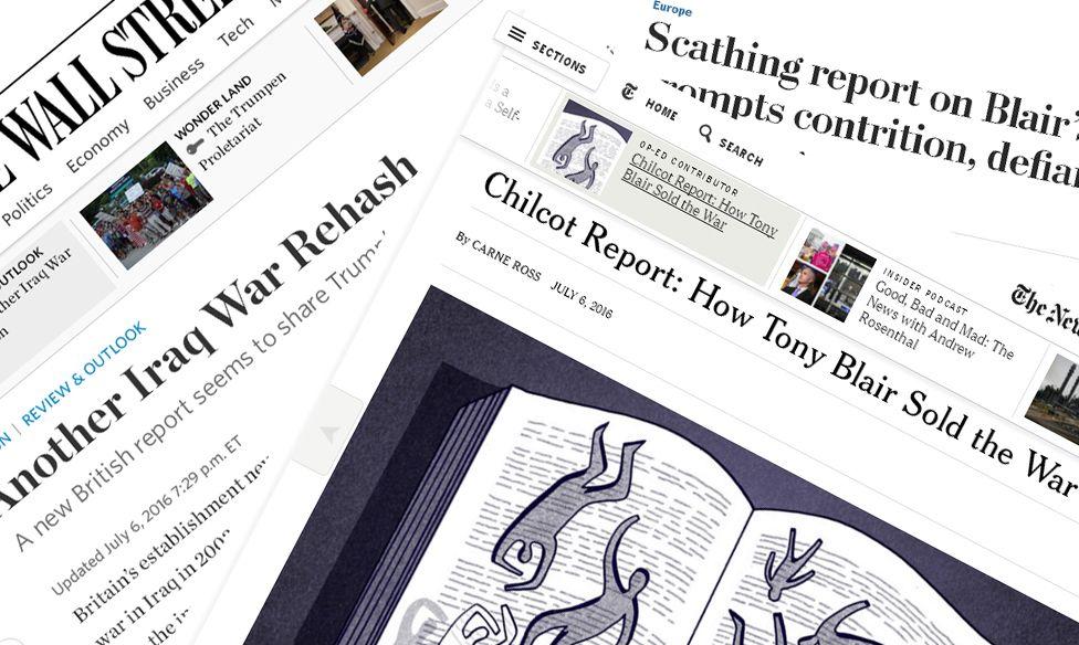 Screen grabs of US newspaper websites