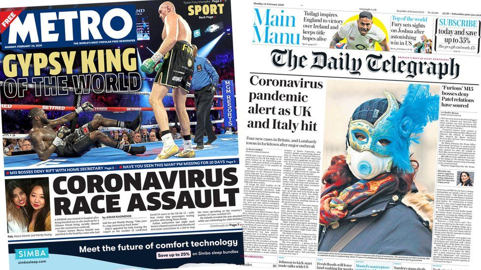 Front pages of the Metro and the Daily Telegraph