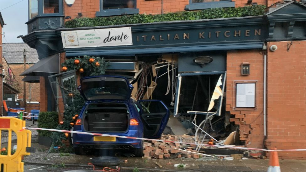 VW Golf crashed into Dante Italian Kitchen in Hale