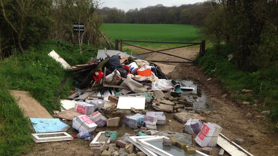 Fly-tipping near Dartford, Kent (file image)
