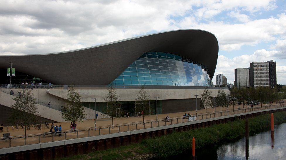 The London Aquatics Centre in the Queen Elizabeth Olympic Park, Stratford, London