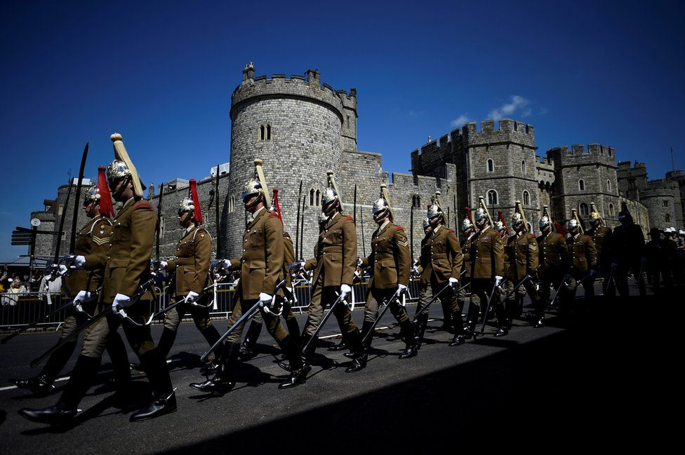 Military personnel take part in rehearsals for the wedding of Britain's Prince Harry and Meghan Markle in Windsor, Britain, 17 May 2018.