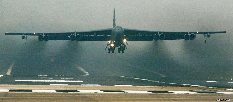 B-52 taking off