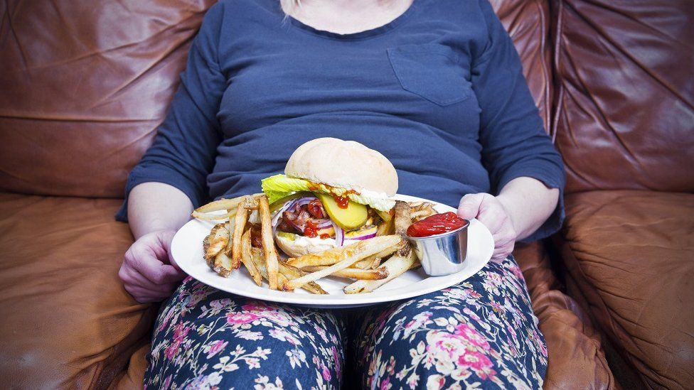 Obese woman with a plate of food
