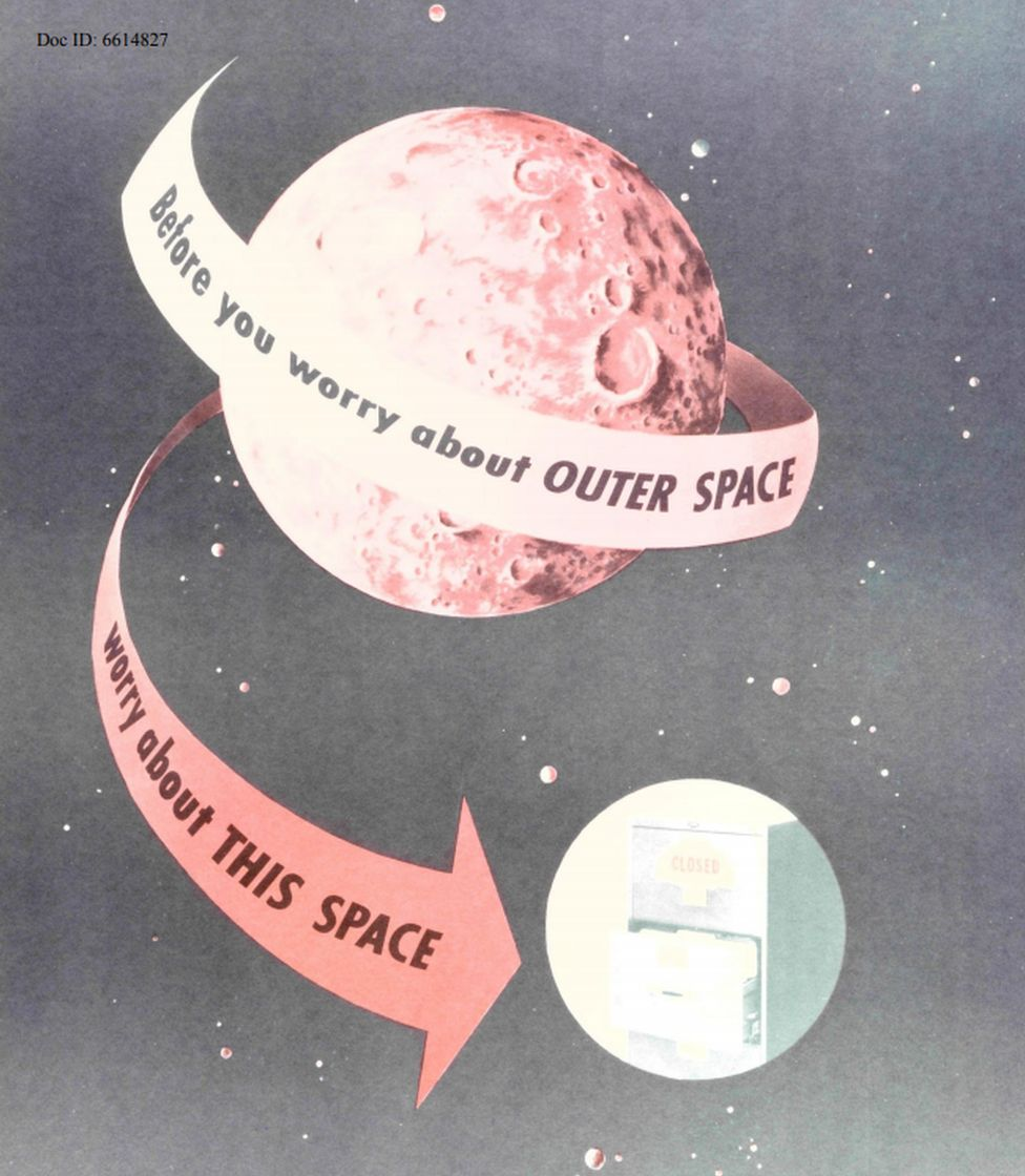 """Before you worry about outer space..."" planets feature on an NSA poster"