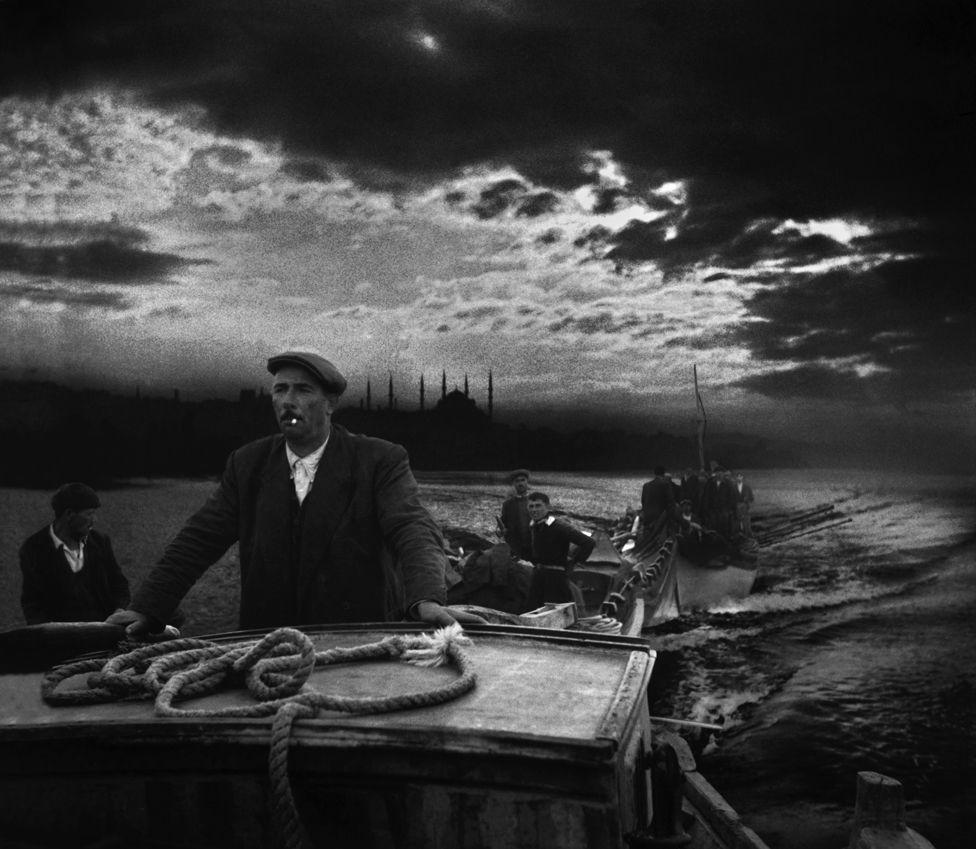 Kumkapi fishermen returning to port in the first light of dawn. 1950