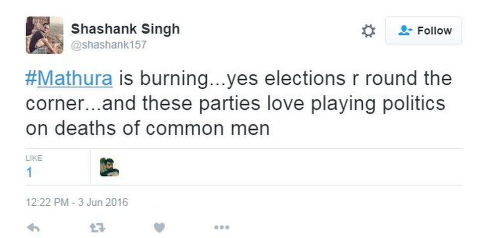 #Mathura is burning...yes elections r round the corner...and these parties love playing politics on deaths of common men