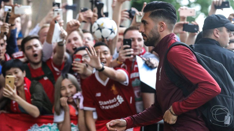 Emre Can of Liverpool arrives in Kiev