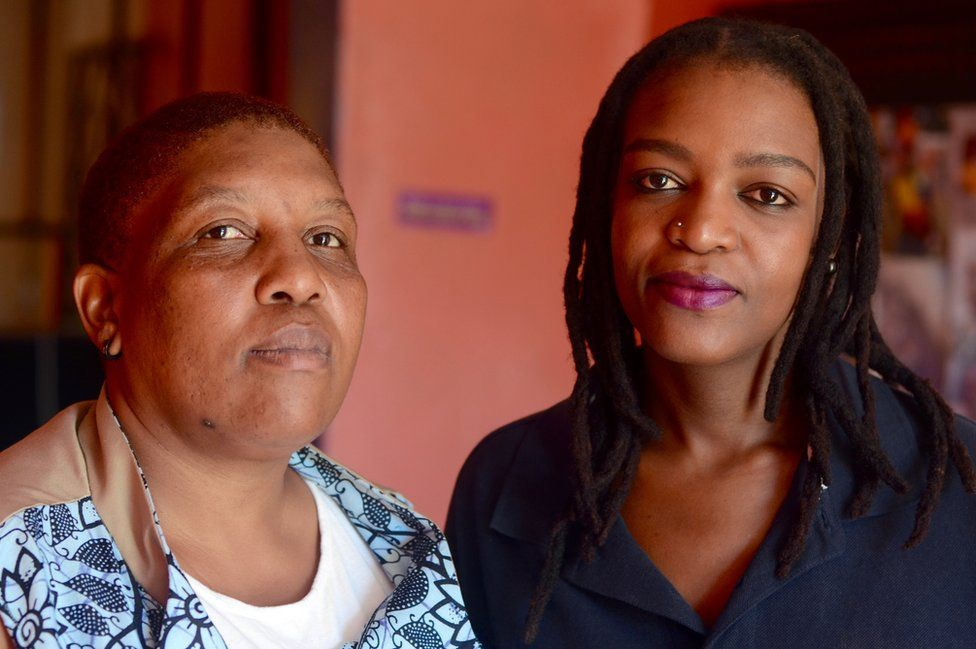 Bontle Kahlo (right), one of EPOC's leaders, with her partner Ntsupe
