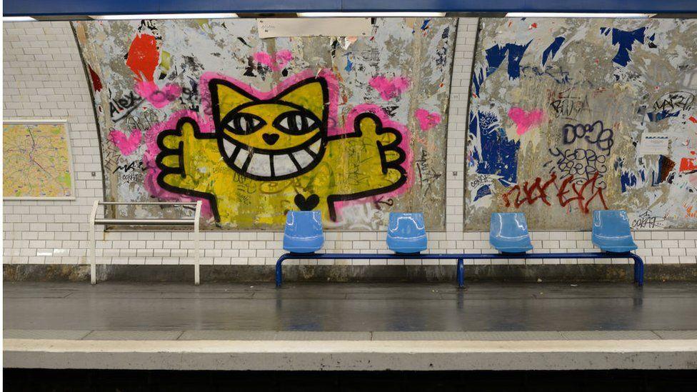 Graffiti on the Paris Metro