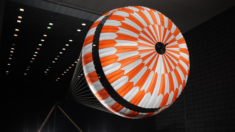 Parachute being tested in wind tunnel