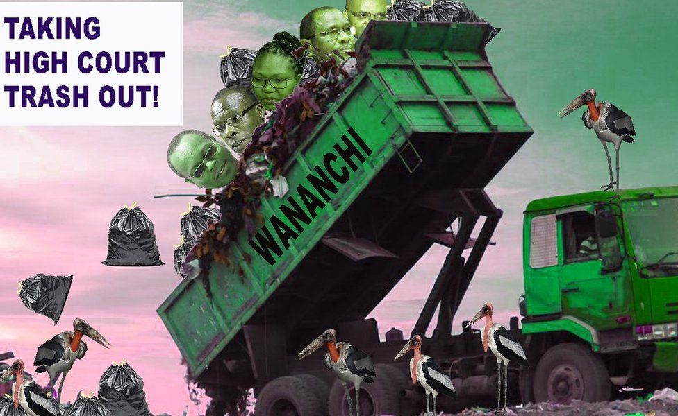 A poster of a rubbish lorry tipping out high court judges