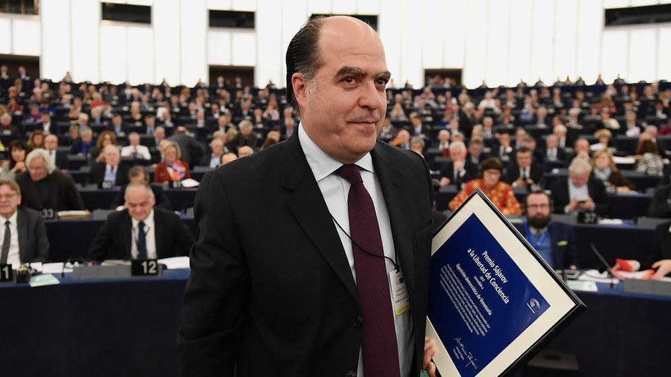 Venezuelan opposition leader Julio Borges leaves after receiving the European Parliament's Sakharov human rights prize at the European Parliament in Strasbourg