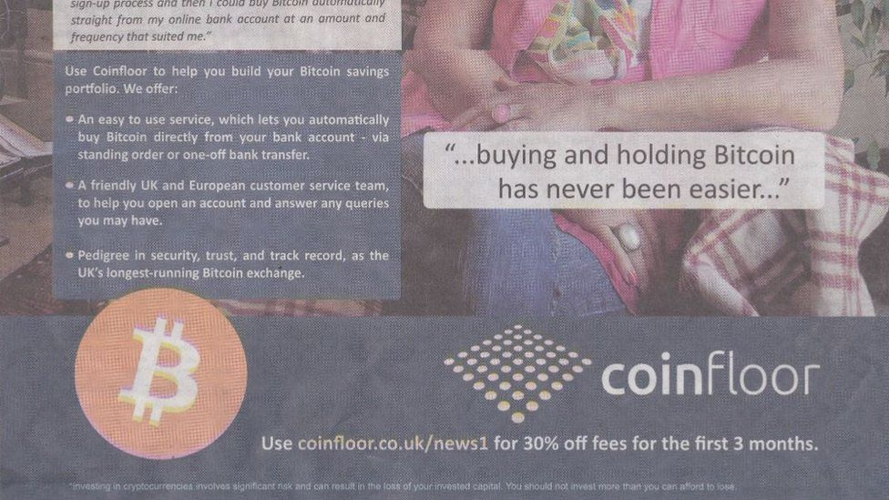 Coinfloor published a disclaimer in smallprint at the bottom of the advert