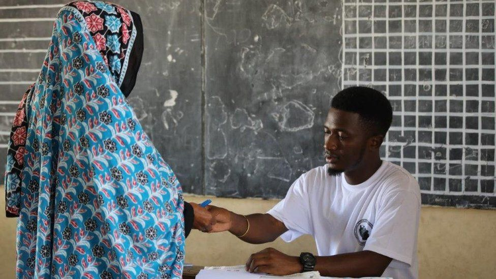 Voter in Tanzania on 28 October 2020
