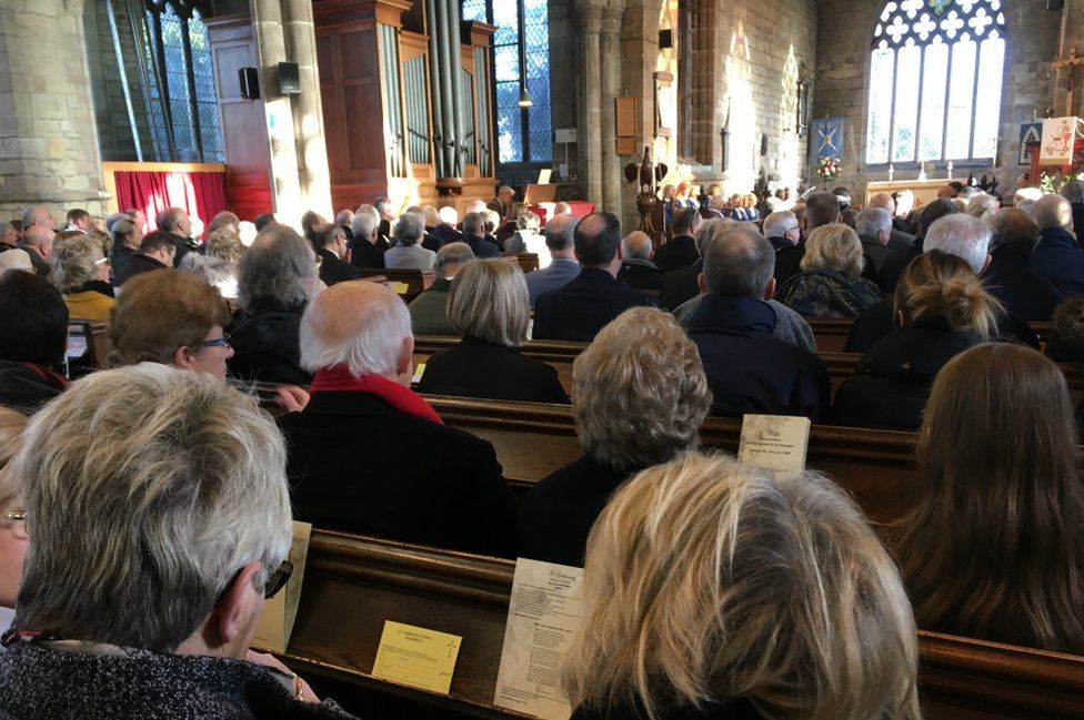 People attend 30th anniversary memorial service at St. Andrew's Church, in Kegworth