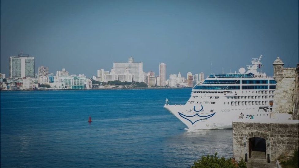 The first US-to-Cuba cruise ship to arrive in the island nation in decades glides into the port of Havana, on May 2, 2016.