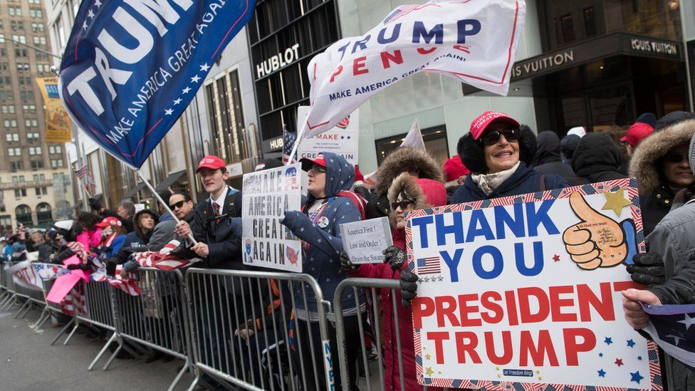 Supporters of President Donald Trump take part in a March 4 Trump rally on Fifth Avenue near Trump tower