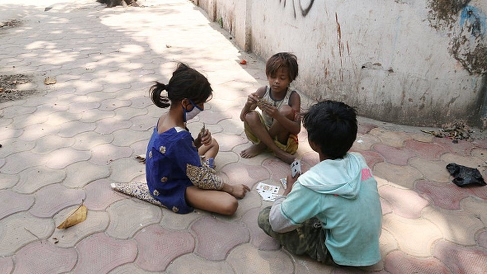 Street children in India during coronavirus