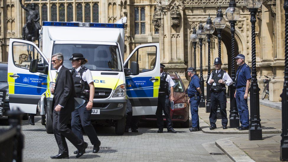 Police outside the Palace of Westminster