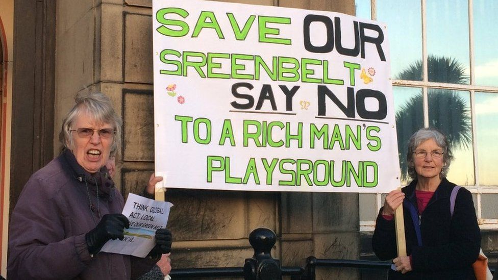 Protesters at Wallasey Town Hall