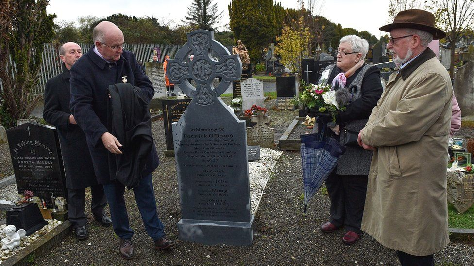 Patrick O'Dowd's new gravestone was unveiled in 2019