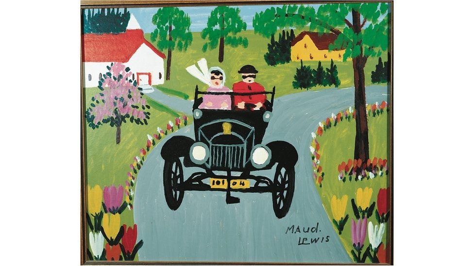 Painting of car by Maud Lewis