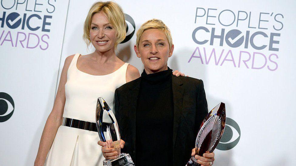 Ellen DeGeneres (r) with wife Portia de Rossi