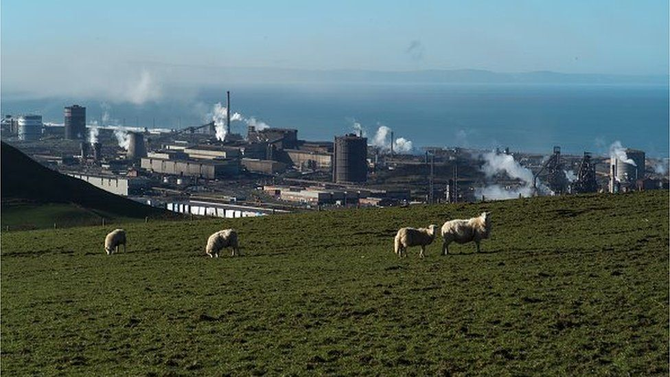 A general view of the Tata Steel plant from the hills overlooking Port Talbot
