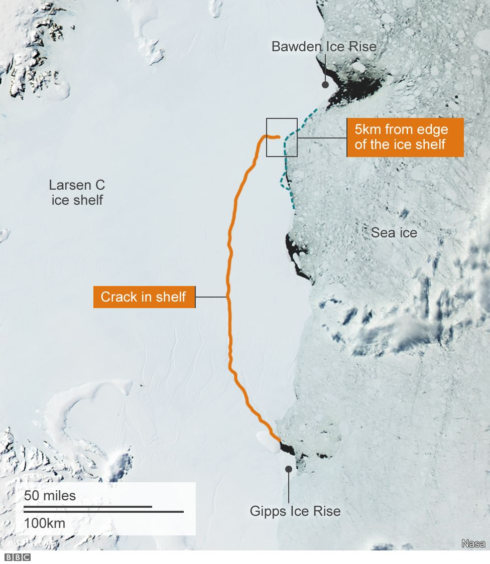 Satellite image with a line showing the crack in the Larsen C iceshelf