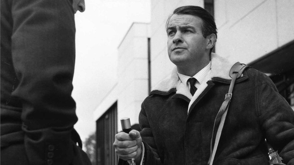 David Parry-Jones recording outside BBC Wales in 1967
