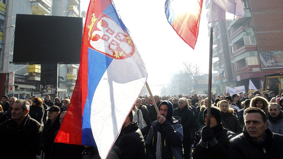 Ethnic Serbs protested in northern Kosovo, waving Serbian flags