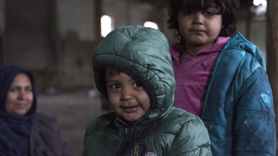 Afghan child refugees in an abandoned building at the Serbian border. Hungary and Croatia have been stopping refugees crossing the borders into the EU, many refugees are stuck in Serbia, 11 November 2017