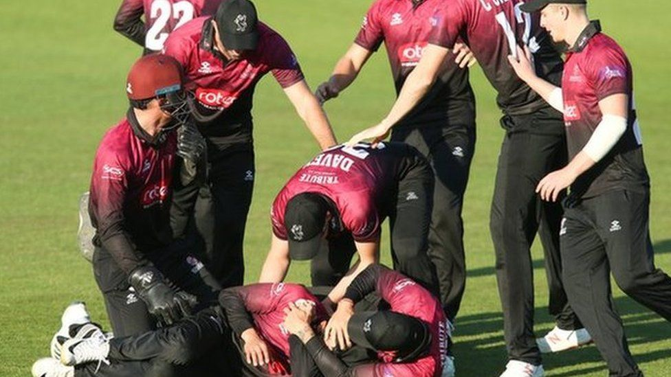 Somerset players celebrate their second win in this season's One-Day Cup