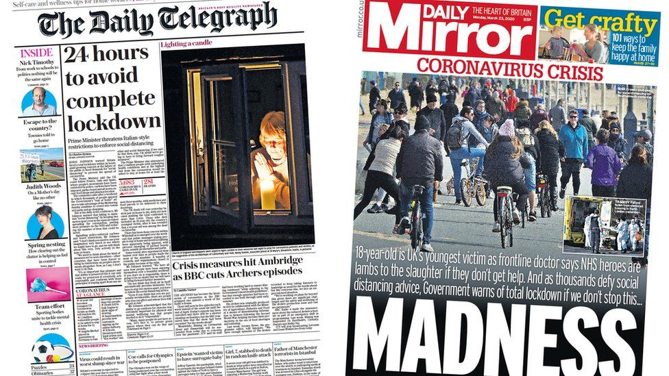 Daily Telegraph and Daily Mirror front pages