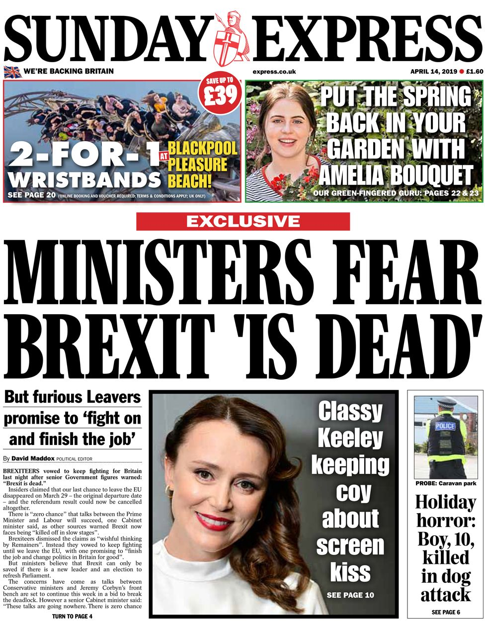 Sunday Express front page, 14/4/19