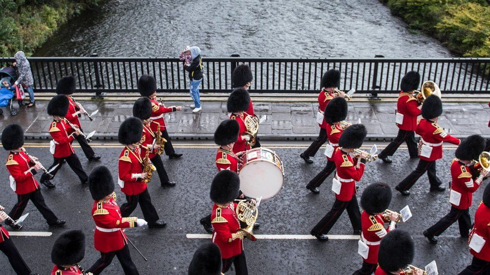 The Welsh Guards paraded through Pontypridd