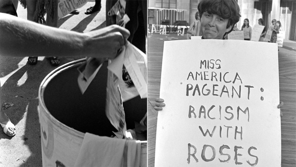 Hand throwing magazine into Freedom Trash Can and female protester holding sign reading: Miss America pageant - racism with roses