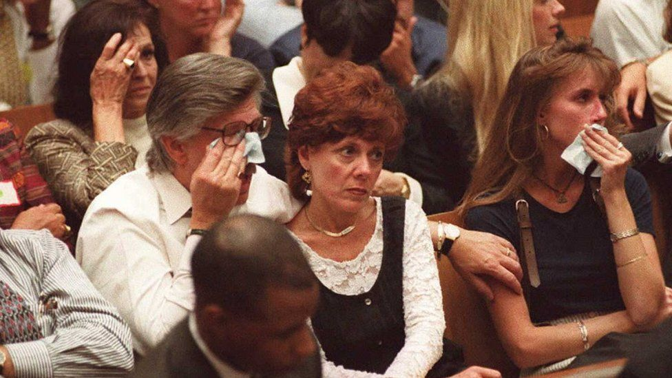 Family members of murder victims Nicole Brown Simpson and Ron Goldman cry in court as prosecutor Marcia Clark describes their murders in the O.J. Simpson murder trial 26 September in Los Angeles.