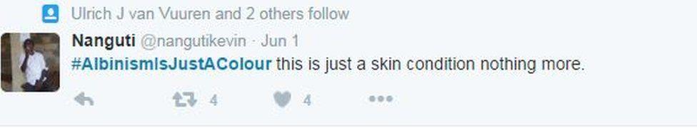 Just a skin condition tweet