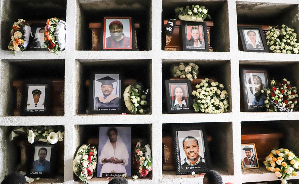 Portraits of victims of the crashed accident of Ethiopian Airlines are displayed during the mass funeral at Holy Trinity Cathedral in Addis Ababa, Ethiopia, on March 17, 2019