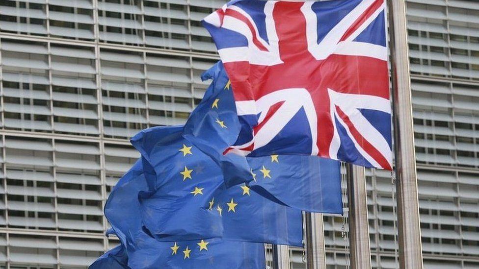 Union flag and European Union flag
