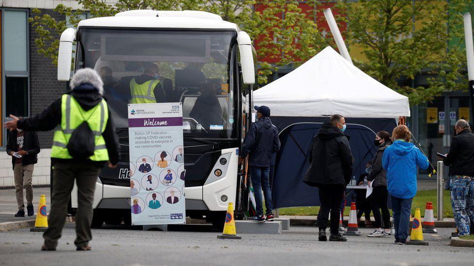 Vaccine bus in Bolton