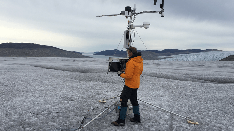 Dr Jason Box of the Geological Survey of Denmark conducting research on the Sermilik glacier