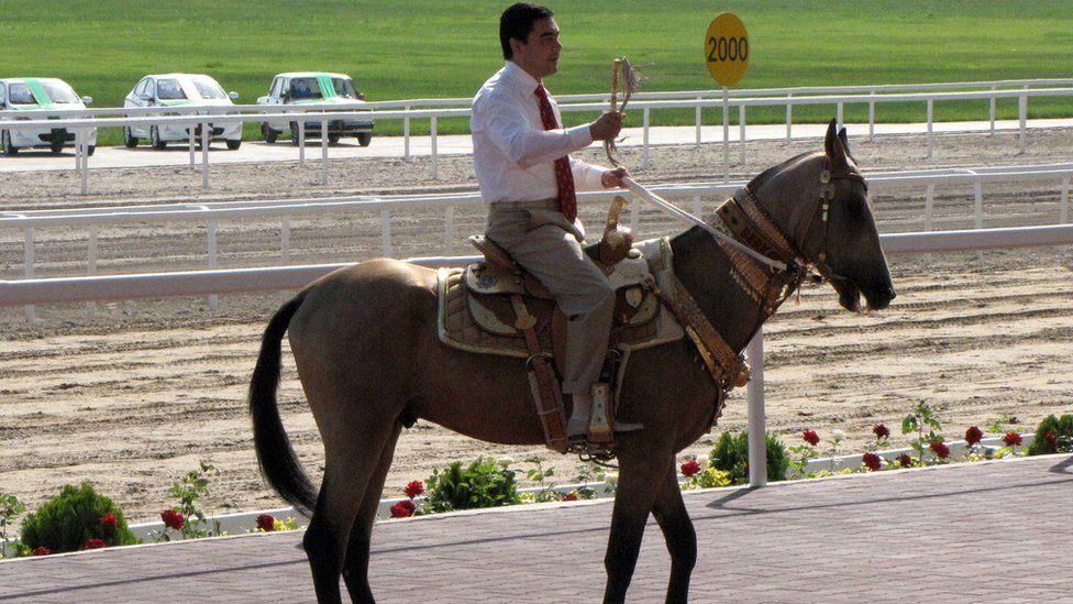 Mr Berdymukhamedov rides a horse as he attends the Day of the Turkmen Race Horse holiday in Ashgabad in 2012