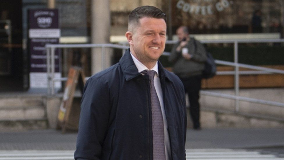 Tommy Robinson arrives at the Royal Courts of Justice, London