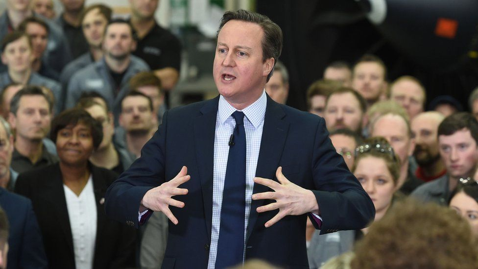 David Cameron giving a talk at GE Aviation in Cardiff