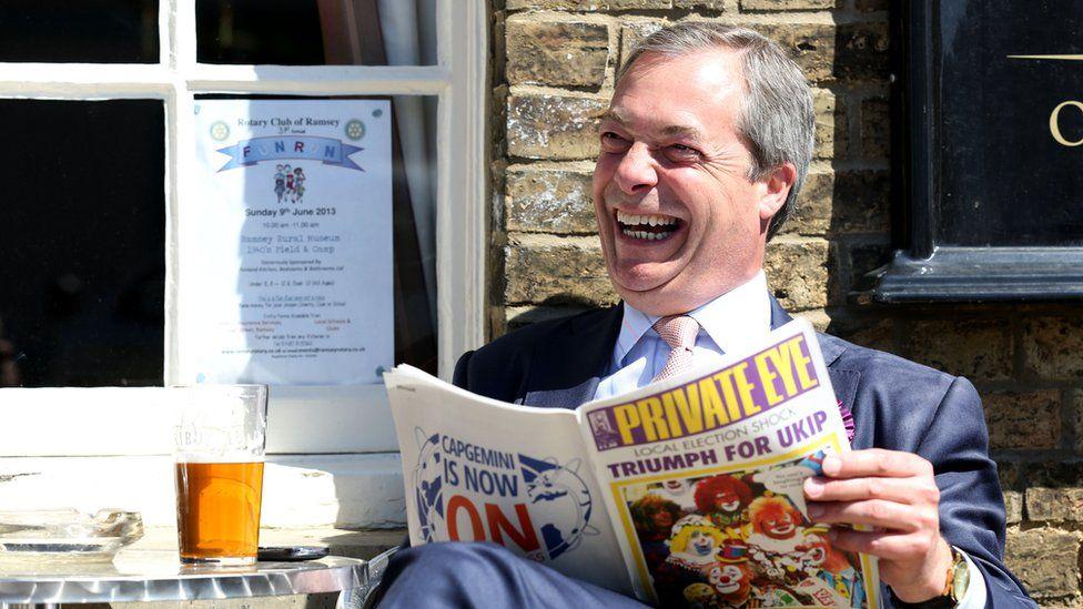 Nigel Farage reading Private Eye