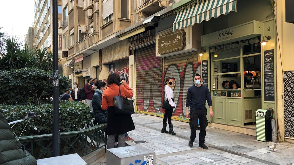 Centre of Athens under lockdown